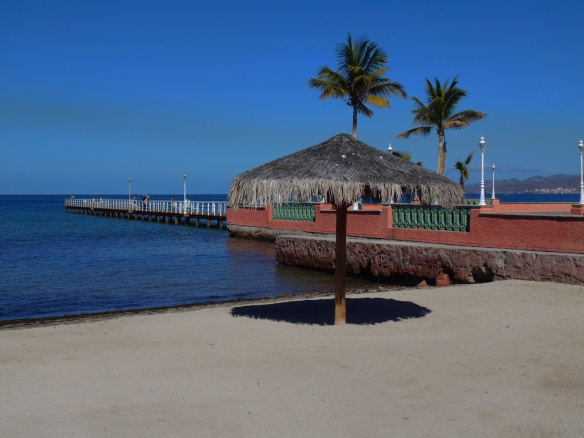 Beach and palapa off malecon