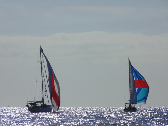 Enjoying the closeness of the other boats before spreading out.